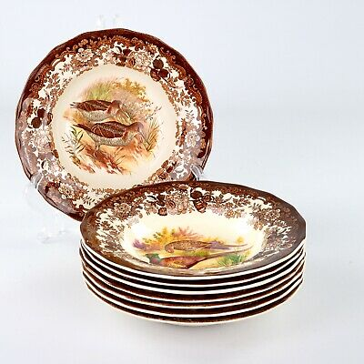 £50 • Buy Royal Worcester Palissy Game Series, 8 X Rim Bowls, 9 Inches