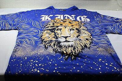 £28.17 • Buy Contender Mens 6XL  KING  T-shirt Big And Tall Lion Purple All Over Print