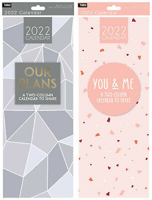£3.95 • Buy 2022 Couples 2 Column Month To View Slim His & Her Calendar Wall Hanging Planner