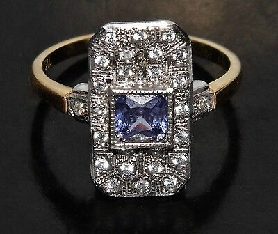 £45 • Buy 9ct Gold On Silver Ceylon Sapphire Victorian Design Cluster Ring Size N