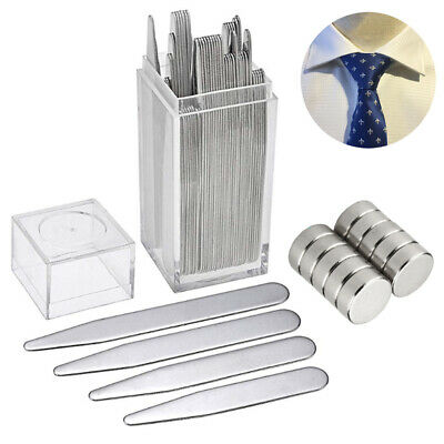 $13.19 • Buy 40 Metal Collar Stays + 10 Magnets For Men Shirt 4 Various Sizes In Plastic Box
