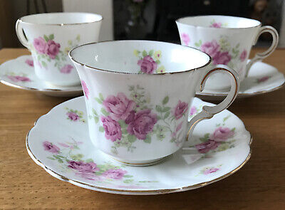 £8 • Buy FOLEY Bone China Pink Rose 3 X  Cup & Saucer Duos. Vintage