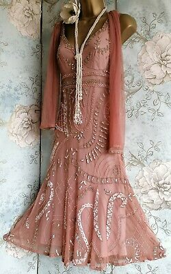 £99 • Buy Principles Pink Bead Lace 20s Deco Gatsby Evening Wedding Party Dress 8 36