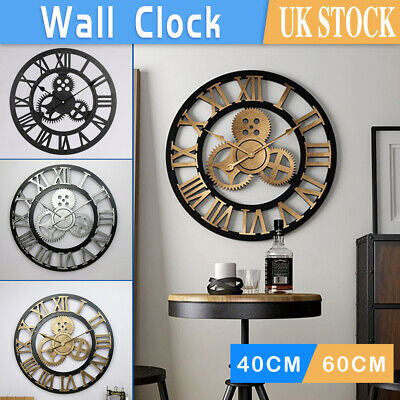£20.99 • Buy 40/60cm Extra Large Roman Numerals Skeleton Wall Clock Big Giant Open Face Round
