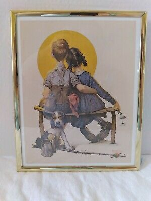 $ CDN15.71 • Buy Vintage Norman Rockwell  Little Spooners Sunset  Framed Gallery Print With Box