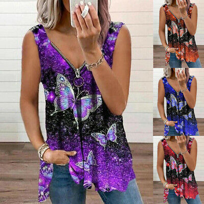 £5.69 • Buy Womens Cami Butterfly Pullover Vest Blouse Zipper Loose T Shirt Basic Tee Tops