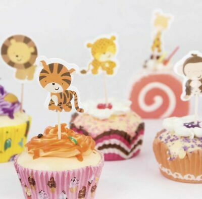 £6.16 • Buy 24Pcs Cute Animal Cupcake Toppers Jungle Cake Toppers Birthday Party Cake Decor