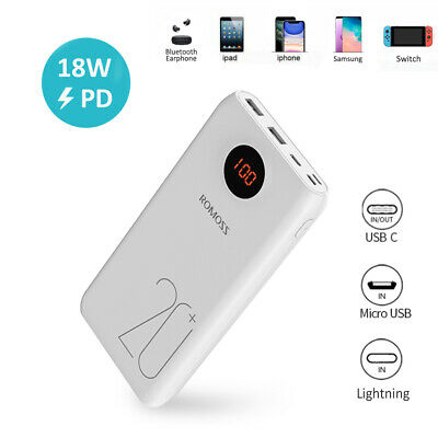 AU14.28 • Buy ROMOSS 20000mAh 18W PD QC3.0 Power Bank 3 Output USB Portable Fast Phone Charger