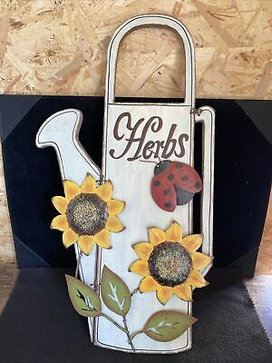 £3.99 • Buy Decorative Herb Sign With Sunflowers And Ladybird Design