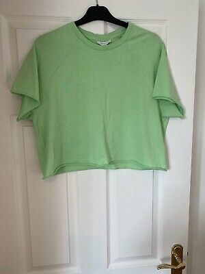 £8 • Buy Topshop, Top, T Shirt, Basic Tee, Cropped, Used, Size 14, Bright, Topshop Top,