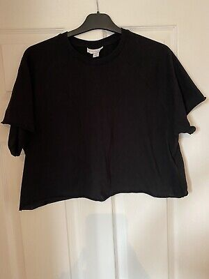 £8 • Buy Topshop, Top, T Shirt, Black, Used, Cropped, Size 14, Basic Tee, Black Top
