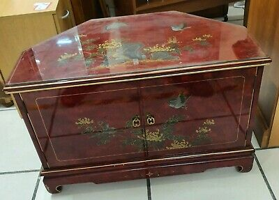 £21.99 • Buy Red Lacquered Glass Top TV Stand Entertainment Unit W/ Asian Art Detail -CIS W73
