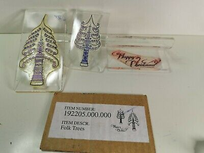 £6.99 • Buy CLARITYSTAMP  FOLK  TREES Christmas 3 PEICE CLEAR MOUNTED STAMPS KIT Z MOUNTS