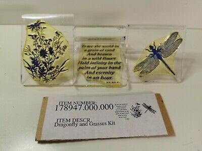 £6.99 • Buy Claritystamp Dragonfly Grasses 3 Peice Clear Mounted Stamps Kit Z Mounts