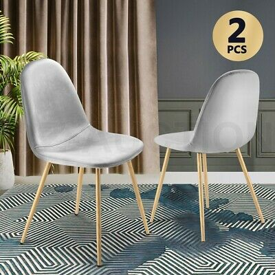 AU79.95 • Buy Soft Dining Chairs Velvet Kitchen Chairs Ergonomic Chair Set Of 2 With Metal Leg