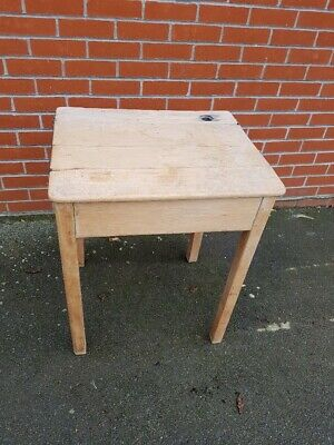 £15 • Buy Traditional Style Solid Beech School Desk With Flip Up Lid And Ink Well.