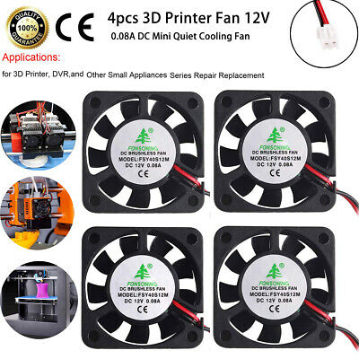 £8.69 • Buy 4X/Pack Mini Quiet Cooling DC Fan 12V 0.08A 28CM Cable 40X40X10mm For 3D Printer