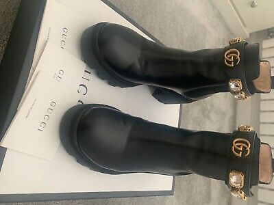 £250.99 • Buy WORN TWICE, Beautiful Gucci Leather Ankle Boots With Belt, Size 4