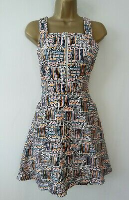 AU2.21 • Buy Cooperative Urban Outfitters White Print Zip Front Pinafore Dress Size S 10 New
