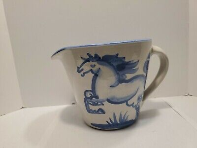 $12.95 • Buy M.A. Hadley Pottery Wide Mouth 5  Pitcher Blue Rearing Horse Signed Made In USA