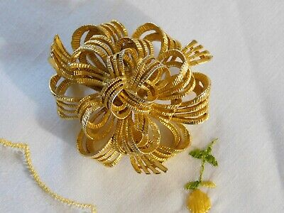 $6 • Buy Vintage M. Jent Brushed Gold Bow Brooch Signed Pin