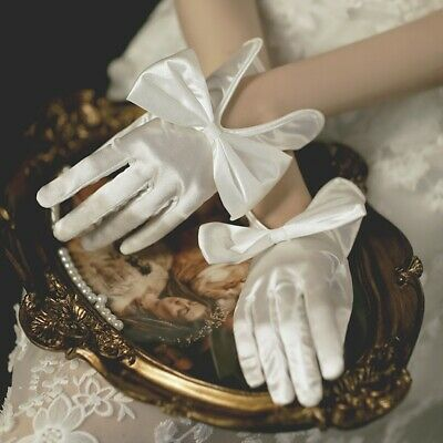 £7.49 • Buy Ladies Shiny Satin Short Gloves Bow Bride Wedding Party Gown Accessory Vintage