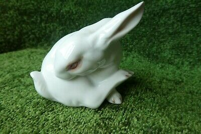 £4 • Buy Porcelain Preening White Hare With Pink Eyes