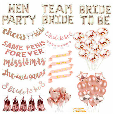 £2.69 • Buy Team Bride To Be Hen Party Sashes Balloons Bunting Rose Gold Party Supplies UK