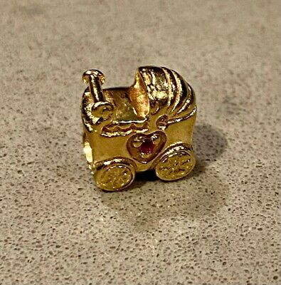 AU450 • Buy Genuine Pandora 14ct Yellow Gold Baby Carriage With Pink Sapphire Charm.