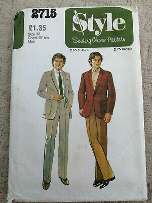 £3.99 • Buy STYLE 70s Sewing Pattern 2715 MENS JACKET 38  (UNCUT) & TROUSERS (CUT SEE NOTE)