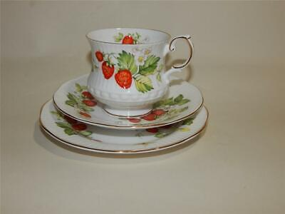 £39.97 • Buy Queen's Queens Rosina China. Virginia Strawberry Trio With Footed Teacup England