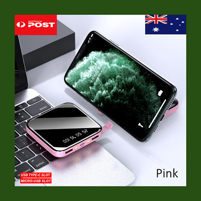 AU20.99 • Buy Power Bank Mini Portable  20000 Mah 2USB Type-C  Fast Charger Battery Bank Pink