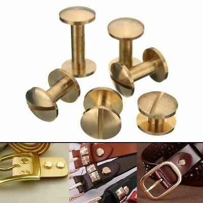 £4.99 • Buy 20PC Belt Screw Leather Craft Chicago Nail Brass Rivets Stud Head Wallet Round
