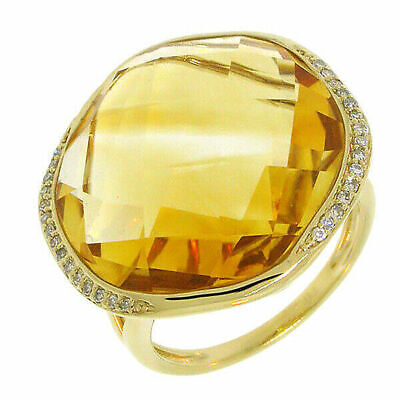 AU1686.07 • Buy 14K Yellow Gold Citrine Diamond Ring Checkered Briolette Cocktail Womens Natural
