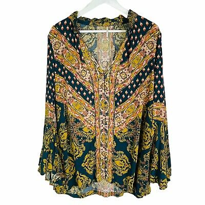 AU25.38 • Buy Urban Outfitters Free People Floral Tunic Top Boho Peasant Bell Sleeve S