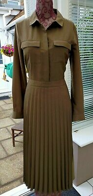 £5.20 • Buy Warehouse Khaki Polyester On Trend Shirt Dress With Long Pleated Skirt Size 8