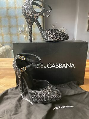 £150 • Buy Dolce & Gabbana Womens Shoes Black And Silver Glitter Pizzo Size 4.5 (37.5)