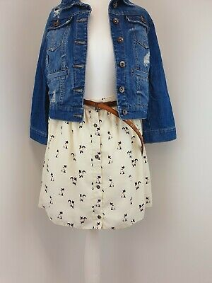 £11.95 • Buy Topshop Button Down Flared Mini Skirt With Cat Print Cream Size 8 Cute