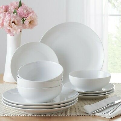 $29.99 • Buy Mainstays 12-Piece Round Dinnerware Set Dishes Dinner Salad Plate Bowl Set For 4