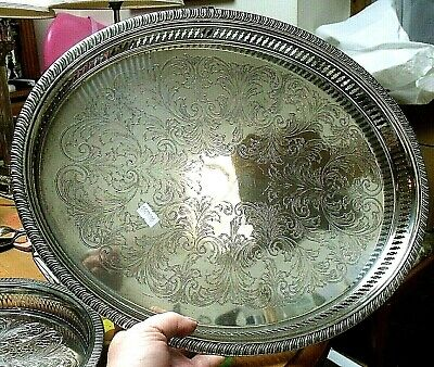 £24.95 • Buy Vintage 11  Silver Plated Gallery Tray By Cavalier + Another 16  Oval Galleried