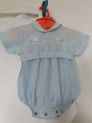 £3.50 • Buy Vintage, Now More Rare, Baby Blue 'spanish Style' Smocked Romper Suit. Age 0-3 M