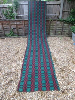 £30 • Buy Vintage 1970s HAND WOVEN KILIM RUG RUNNER Nearly 4 Metres Long GREEN RED BLACK