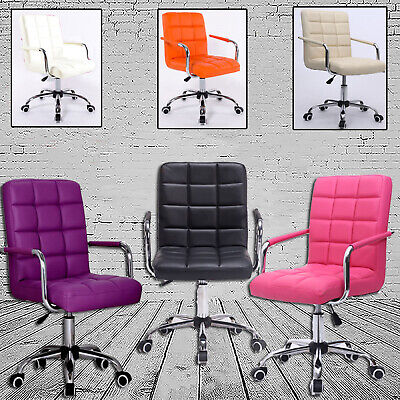 AU87.66 • Buy Swivel Furniture Computer Desk Office Study Chair PU Leather Adjustable Chair