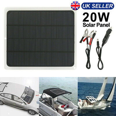 £14.99 • Buy 20W Solar Panel 12V Trickle Charge Battery Charger Maintainer Marine RV Car UK