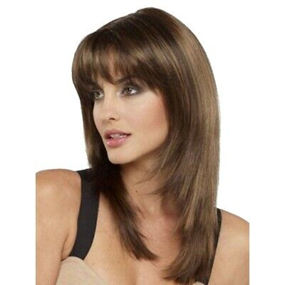 £9.88 • Buy Women Real Natural Hair Medium Straight Wigs W/Bangs Pro Party Cosplay Full Wig