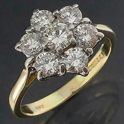 AU1195 • Buy London 1993 Solid 18k Yellow & White GOLD 7 DIAMOND CLUSTER RING Val=$3170 Sz L