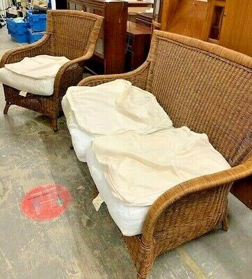 £49.99 • Buy Wicker Rattan 2+1 Two Piece Conservatory Suite, Sofa & Armchair  - CIS P28