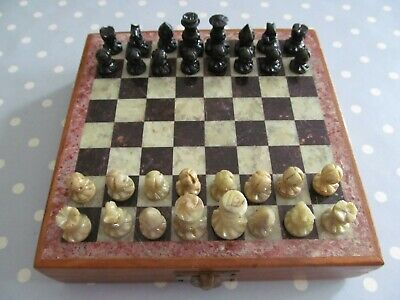 £30 • Buy Vintage Travel Chess Set & Stone Board In A  Wooden Case - Soapstone Pieces ?