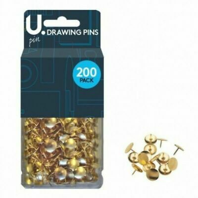 £1.99 • Buy 200 X Brass Drawing Pins Strong Metal - Gold Colour U-Pin Uk Pones