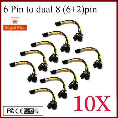 £8.98 • Buy 10X 6 Pin PCI To Dual 8 (6+2) Pin Male PCIE PCI Express Power Splitter Cable UK